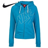 Nike Women's Spring Breathable Knitted Hoodie Jacket Blue Grey and Pink