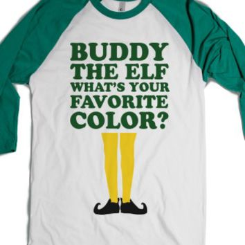 Buddy The Elf What's Your Favorite Color-White/Evergreen T-Shirt