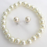 Classic Pearl Stretchable Bracelet With Elegant Stud Earrings Ivory Pearl Set Free Shipping In US