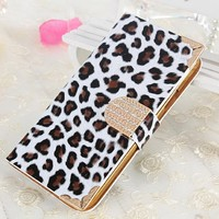 iPhone 6 Case, Nice green(TM) Luxury Bling Glitter Rhinestone Leopard PU Leather Card Wallet Flip Cover Case for Apple iPhone 6 (4.7inch) Leopard white