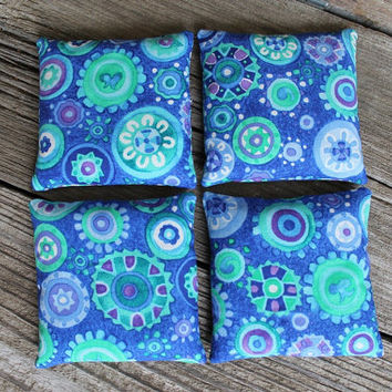 Bean Bags Purple Green Blue White Circle Print Girls Toy Party Favor (set of 4) US Shipping Included