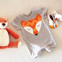 Newborn Kids Baby Rompers Infant Boy Girl Cute Fox Short Sleeve Jumpsuit Soft Outfits Clothes