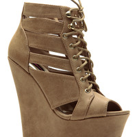 Tan Street Style Lace Up Peep Toe Wedges