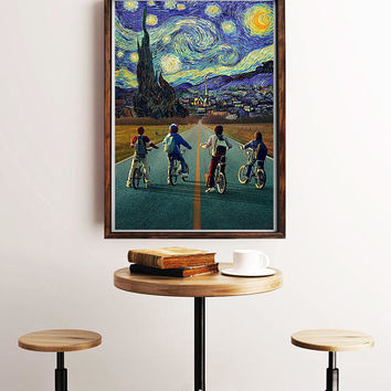 Starry Night, Stranger Things Print, Parody Art, Stranger Things Art Print, Stranger Things Poster, Stranger Things Wall Art, Tv Poster, Art