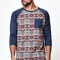 On The Byas Swerve Jacquard Raglan Baseball T-Shirt - Mens Shirt - Blue