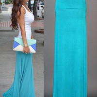 High Waisted Fishtail Maxi Skirt