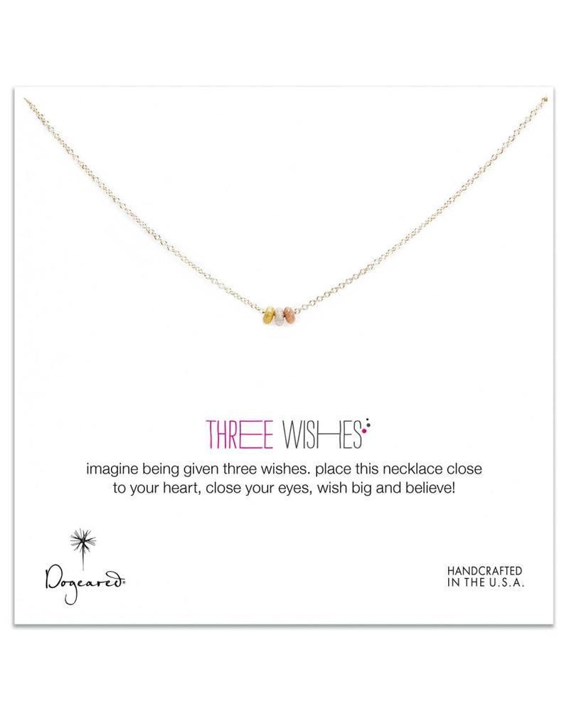Image of Dogeared - 3 Wishes Mixed Stardust Bead Necklace on Gold Dipped Chain