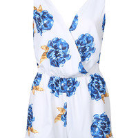 White V-Neck Sleeveless Floral Romper