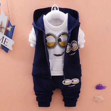 Newest 2015 Autumn Baby Girls Boys Minion Suits Infant/Newborn Clothes Sets Kids Vest+T Shirt+Pants 3 Pcs Sets Children Suits