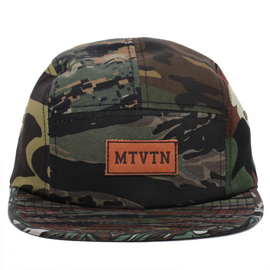 Image of MTVTN Leather Patch 5-Panel Camp Hat Multi Camo