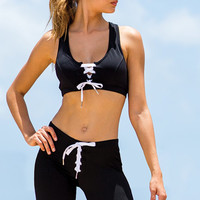 Athletic Lace-Up Crop Top
