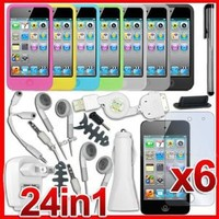 24 in 1 Accessory Bundle Case Car Charger for iPhone 4
