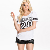 White Mickey 28 Print Short Sleeve Baseball Shirt