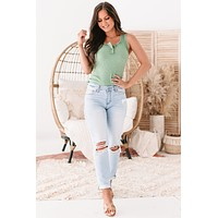 Shandra Ribbed Button-Neck Tank Top (Sage)