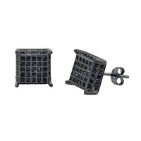 Sterling Silver Black CZ Micropave Stud Earrings 3d Square 9mm x 9mm