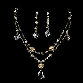 The Arielle, A Yellow Gold Pearl and Crystal Necklace & Earring Set