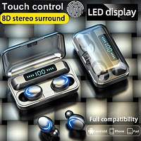 Touch Control Wireless Bluetooth Earphones Headphones LED Display True Wireless Earbuds Sports Headset HIFI 8D Stereo for phone