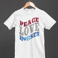 PEACE LOVE HORSES COUNTRY HORSE LOVER GIRLS PATRIOTIC FLAG SHIRT