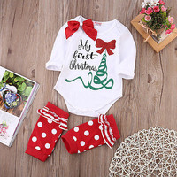 Newborn Baby Girl Cotton Rompers Christmas Tree Leg Warmers Toddler Clothes Set