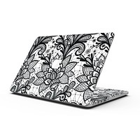 Black and White Geometric Floral - MacBook Pro with Retina Display Full-Coverage Skin Kit