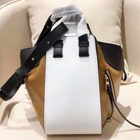 Loewe fashion patchwork color shoulder bag hot selling ladies casual shopping bag White+Brown