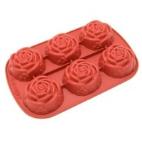 Freshware CB-205RD 6-Cavity Rose Shape Silicone Mold for Homemade Soap, Cake, Cupcake, Bread, Muffin, Pudding, Jello, and More