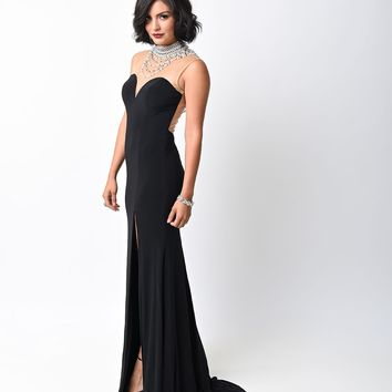 1930s Style Black Jeweled High Slit Jersey Gown
