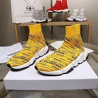 Balenciaga Speed Trainers Yellow With Black Logo Print Sneakers