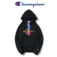 Champion New fashion embroidery letter couple hooded long sleeve sweater Black