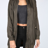 The Tiarra Elongated Bomber Jacket in Olive