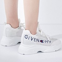 Givenchy & Champion joint models 2018 summer new breathable mesh flat casual wild running shoes F0316-1 White
