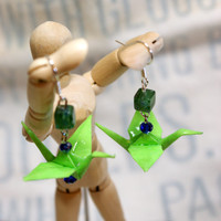 Hand Folded Lime Green Origami Crane Earrings with Green and Blue Accents