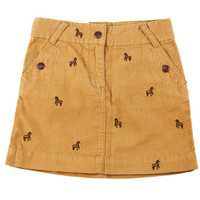 Crewcuts By J. Crew Girl's Skirt Mustard Yellow w/ Brown Horse Design