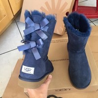 UGG AUTHENTIC BAILEY BOW NAVY BOOTS