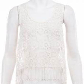 Beach Babe Allover Crochet Tank Top with Fringe - Cream