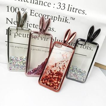 3D Cute Rabbit Ear Stander Case For iPhone 7 7plus Soft Silicon Glitter Liquid Quicksand For iPhone 6 6plus 6s 6splus Girl Cover