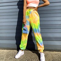 2020 summer new tie-dye printed sports casual pants women's harem pants colorful flourescent green yellow