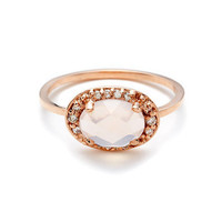 Anna Sheffield Pave Amulet Ring - Rose Quartz and Champagne Diamond