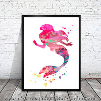 Ariel 3 Watercolor Print, Disney painting,watercolor painting, watercolor art,Disney art, nursery room baby, Princess print, Ariel print,