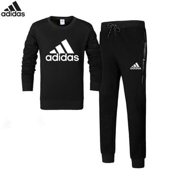 Adidas autumn and winter cotton plus velvet hooded trousers sportswear two-piece suit black