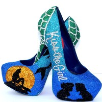 Little Mermaid Glitter Heels with Swarovski Crystals