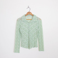 Mint Green Lace Shirt Button Up Shirt Sheer Lace Blouse Stretch Lace Top 90s Lace Top 90s Top 90s Shirt 90s Grunge Top Grunge Shirt S Small
