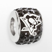 LogoArt Pittsburgh Penguins Sterling Silver Crystal Logo Bead - Made with Swarovski Elements (Black)