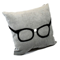 Felt  Appliqued Geek Glasses  on Gray Ultra Suede Pillow