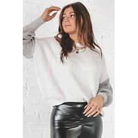 Two Sides To Every Story Gray Color Block Sweater