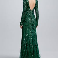 Beaded & Embroidered Long-Sleeve Gown