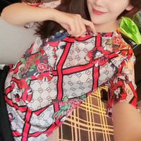 """Gucci"" Personality Multicolor Pattern Print Women Casual Short Sleeve T-shirt Top Tee"