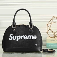 LV X Supreme Women Fashion Leather Satchel Bag Shoulder Bag Handbag
