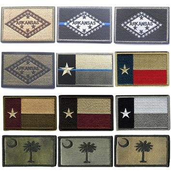 Embroidered Patches United States State Flag Patch Tactical 3D Patches Badge Fabric Arkansas Texas Flags Armband Cloth Badges