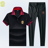 Versace Summer New Fashion Human Head Letter Top And Pants Two Piece Suit Black